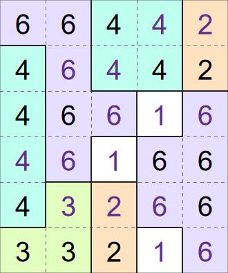 Fillomino finished puzzle